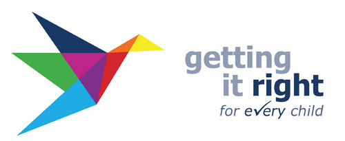 This image is the logo for the Getting it right for every child approach. it is a multi-coloured image of a stylised bird