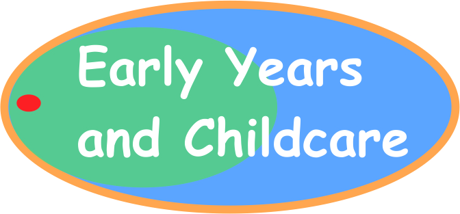 Text saying early years and childcare in a blue and green oval shape