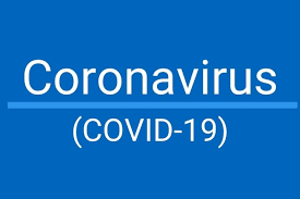 Blue rectangle with Pale blue text Coronavirus withCovid 19 underneath